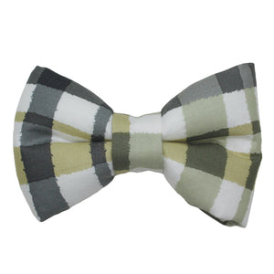 Green and Gray Plaid Bow Tie