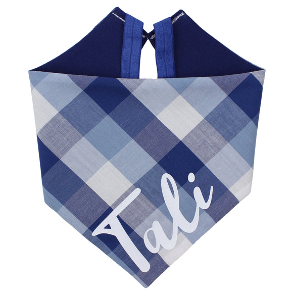 Navy Blue Plaid Bandana
