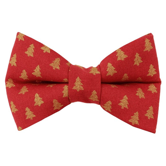 Red And Gold Christmas Tree Bow Tie