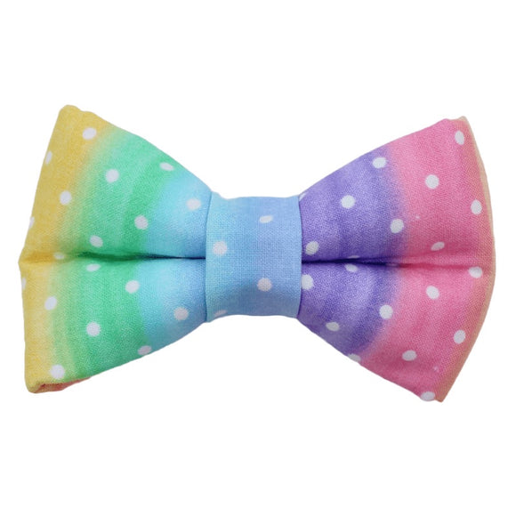 Rainbow Polka Dot Bow Tie