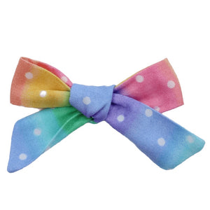 Rainbow Polka Dot Hair Bow