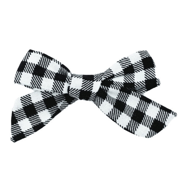 Black And White Buffalo Plaid Hair Bow
