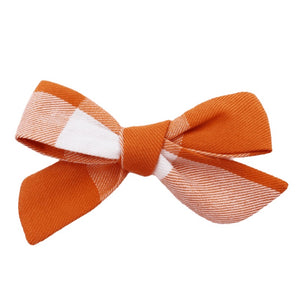 Plaid Orange Hair Bow