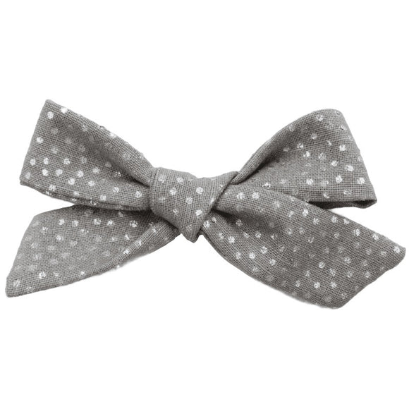 Gray and Silver Polka Dot Hair Bow