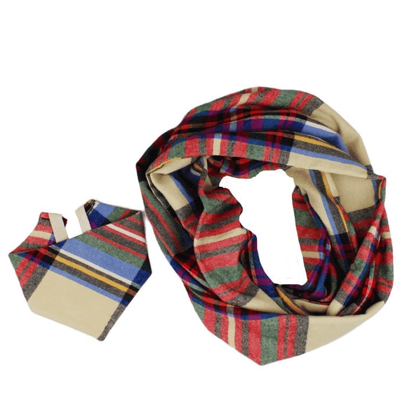 Tan Flannel Plaid Bandana & Human Scarf Set