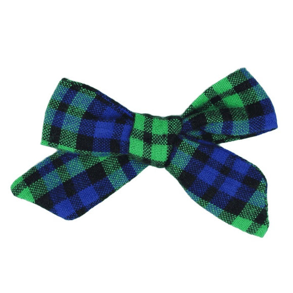 Blue & Green Plaid Hair Bow