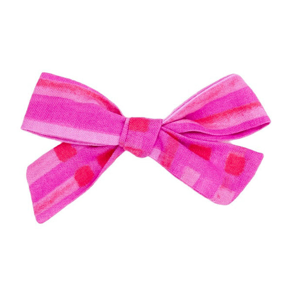 Watercolor Valentine Plaid Hair Bow