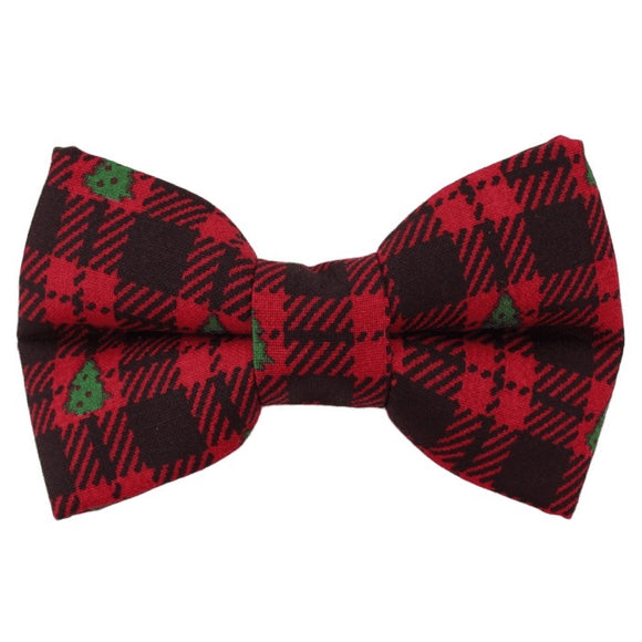 Buffalo Plaid Tree Bow Tie