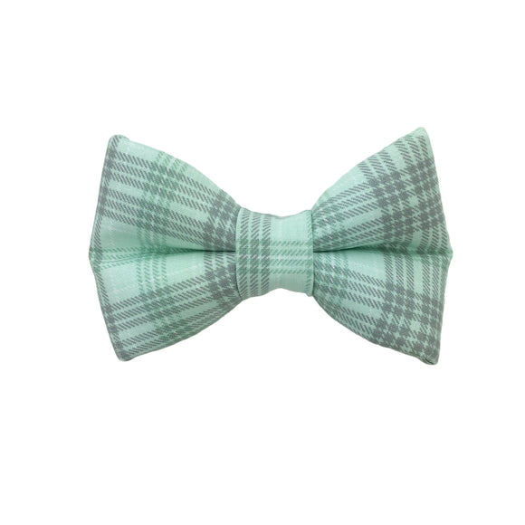 Mint and Gray Plaid Bow Tie