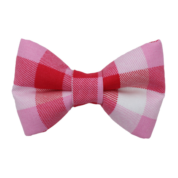 Pink And Red Plaid Bow Tie
