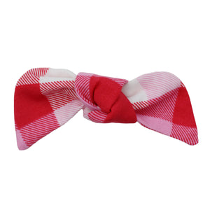 Pink And Red Plaid Hair Bow