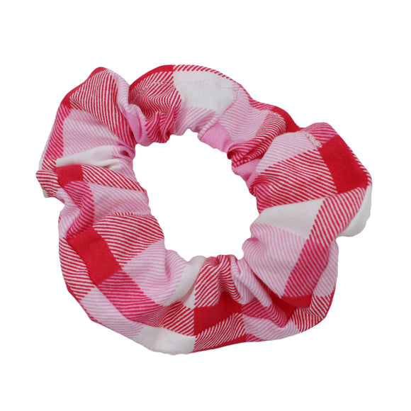 Pink And Red Plaid Scrunchie