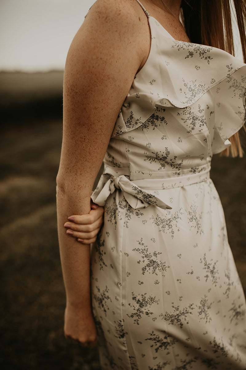 Pale Blue Long Floral Wrap Dress