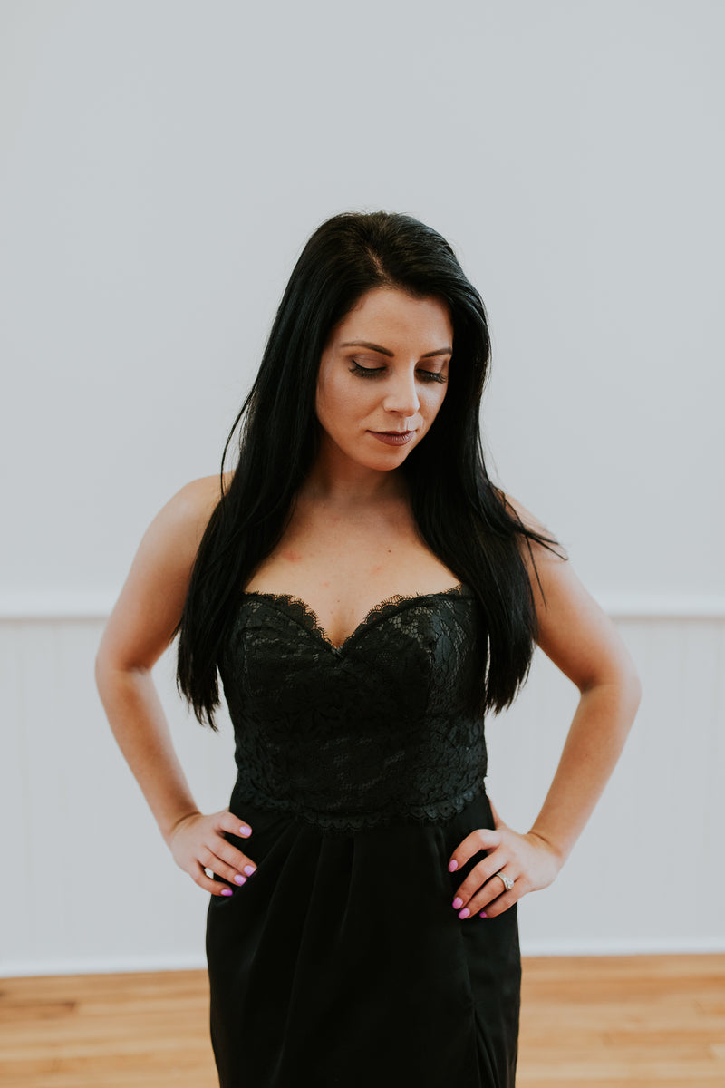 Strapless Black Dress With Lace