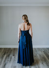 Long Navy Halter Dress