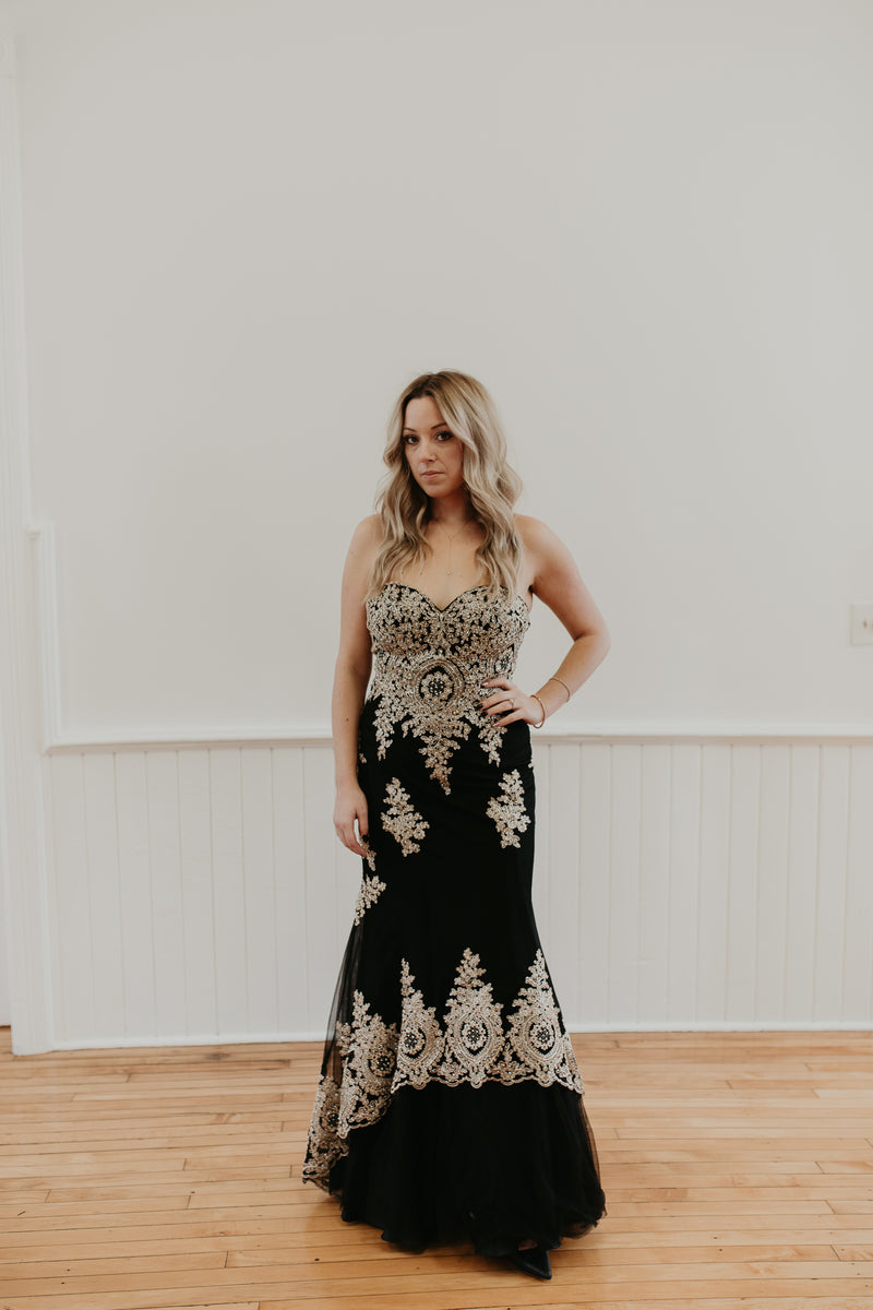 Long Strapless Gown With Gold Embellishments Throughout