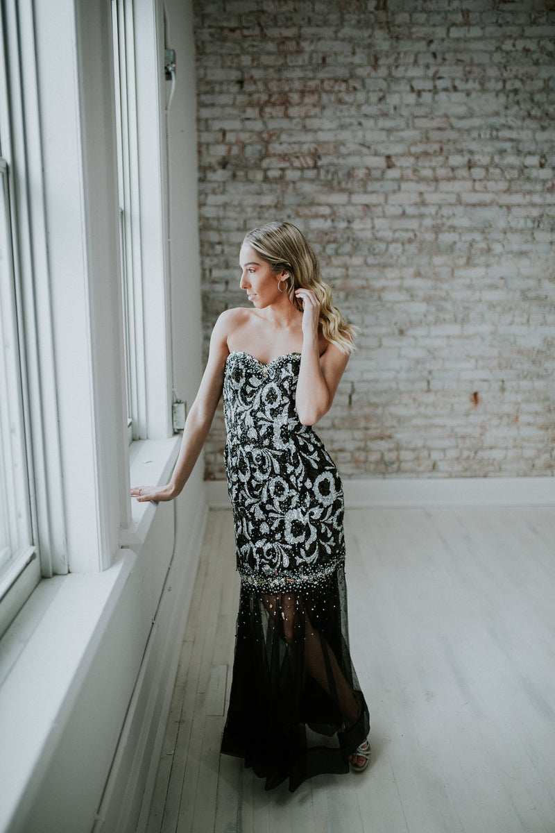 Black & Silver Long Dress