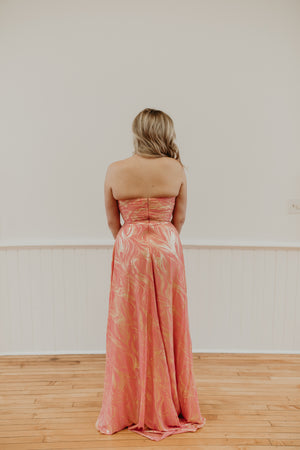 Coral and Gold Halter Long Dress