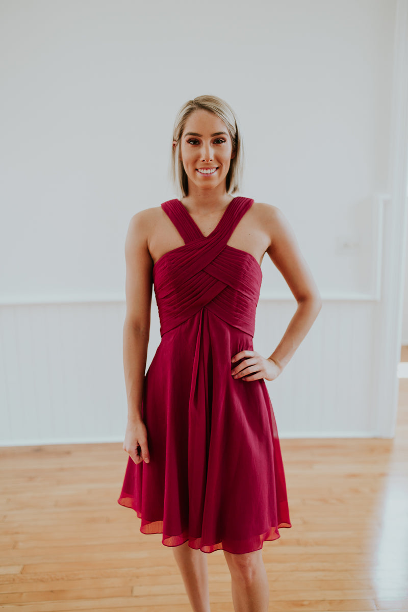 Red V- Neck Dress