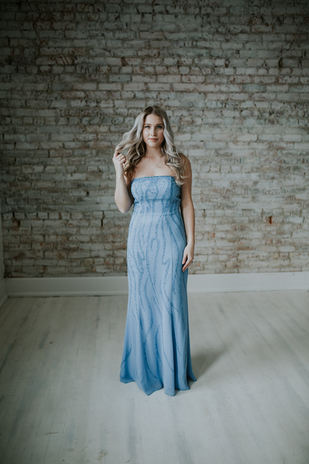 Light Blue Strapless Long Dress