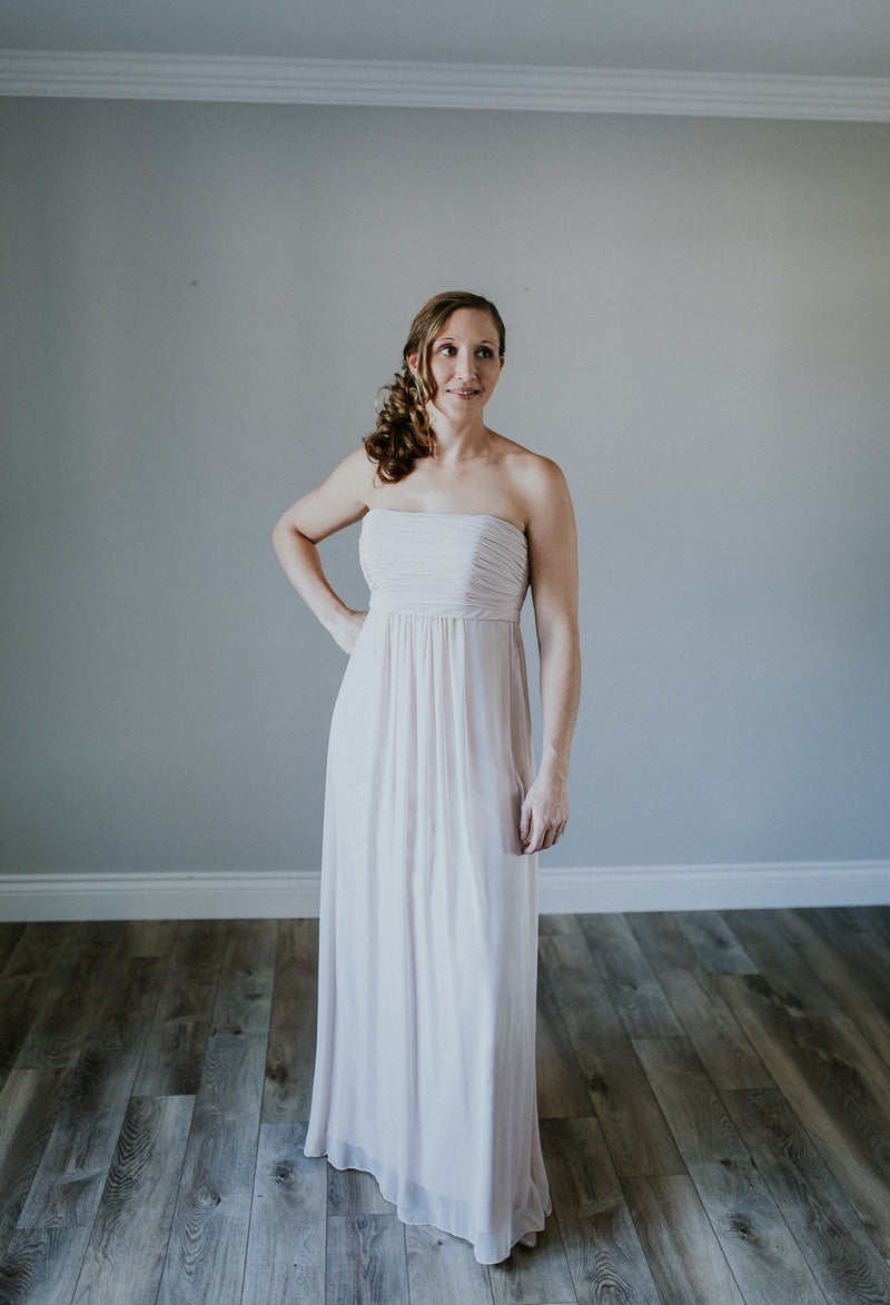 Neutral Strapless Long Dress
