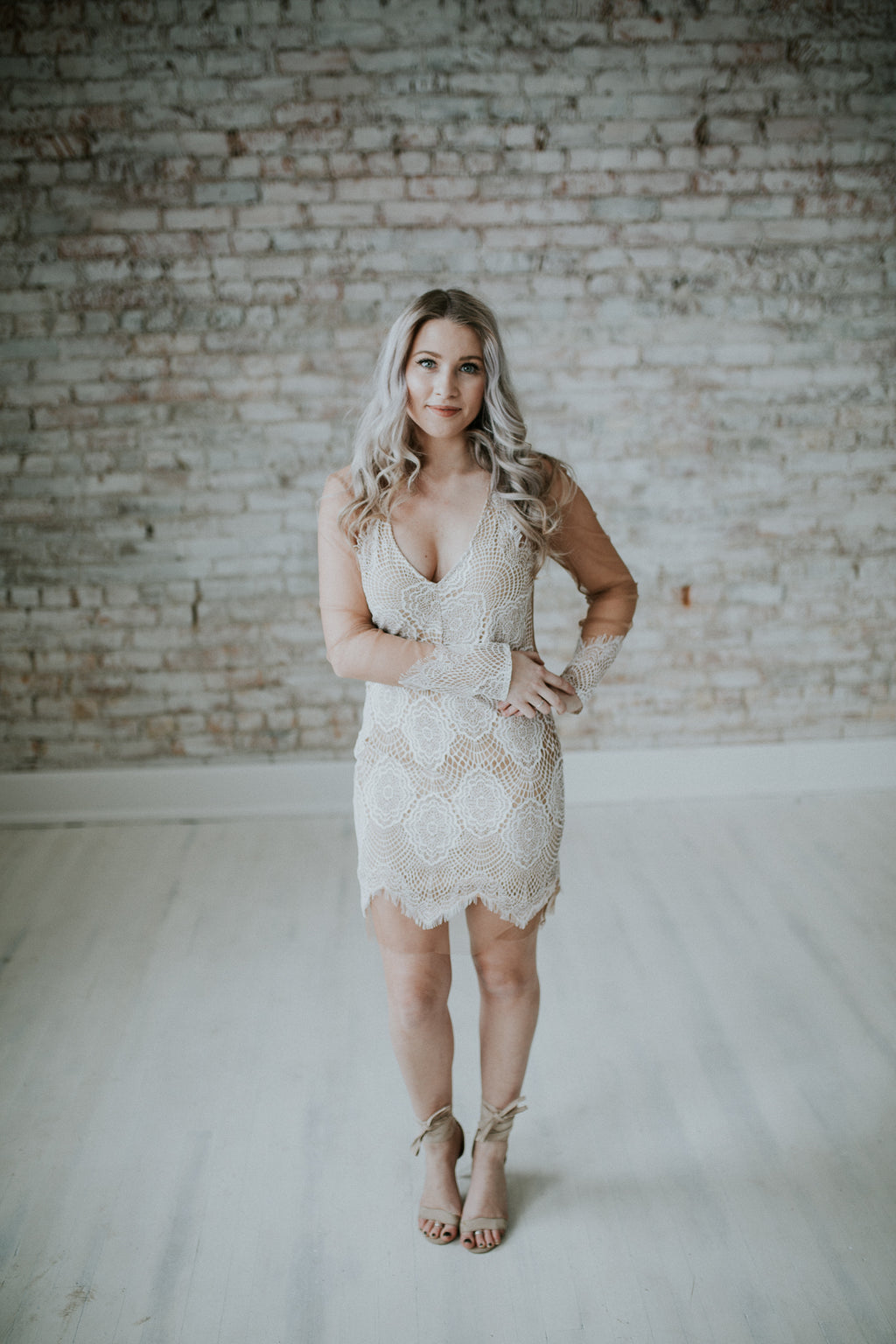 White Lace On Nude Mesh Dress