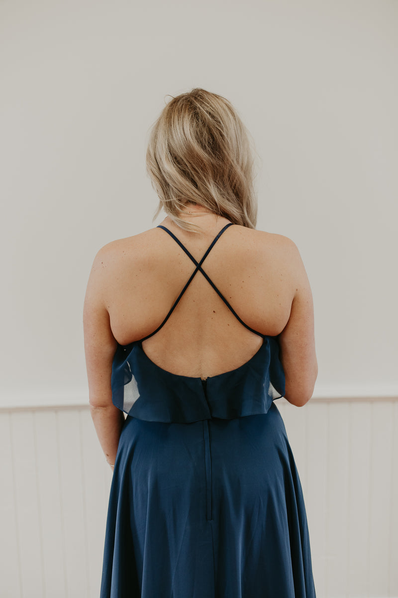 Long Blue Dress With Neckline Detail