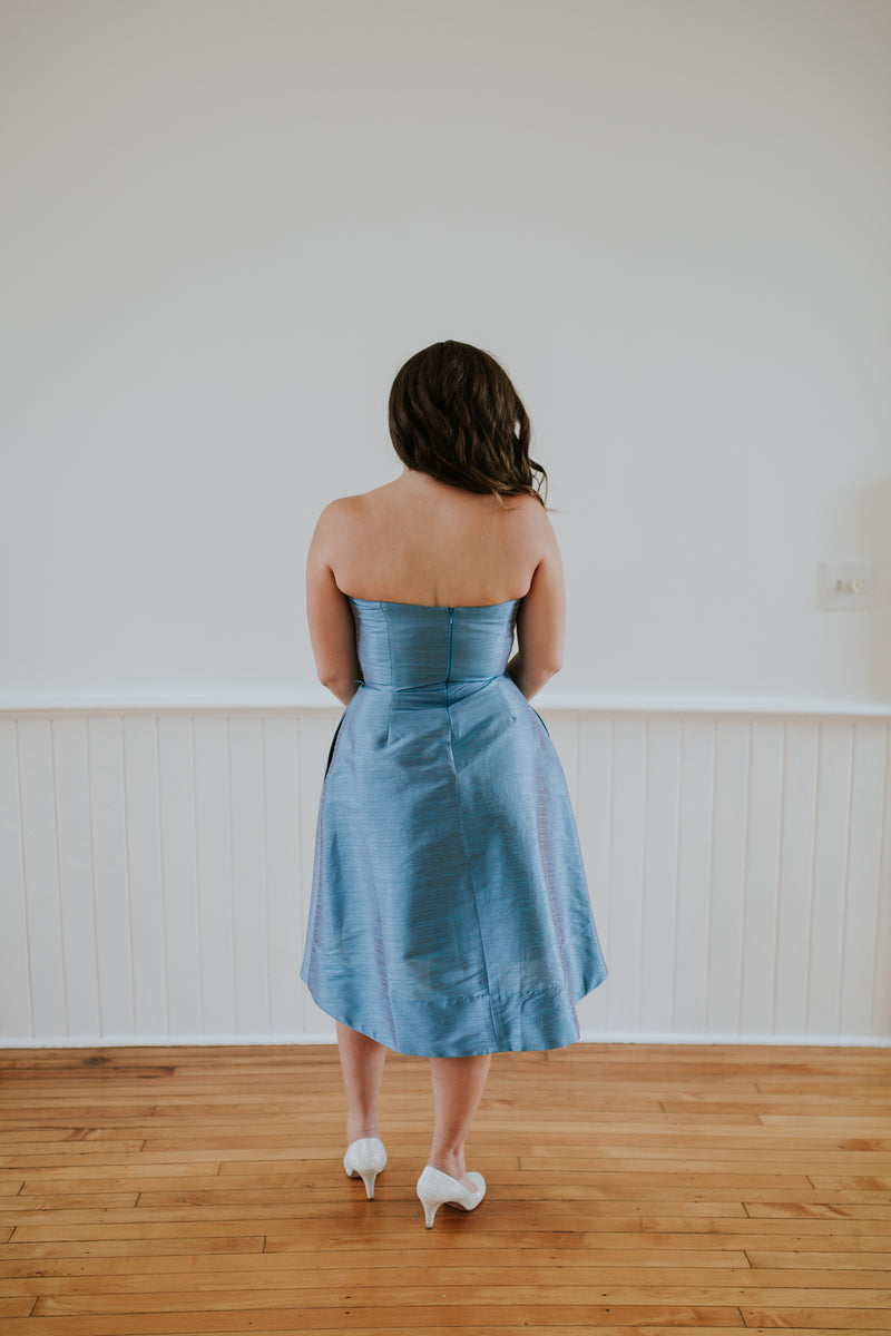 Strapless Sky Blue Dress