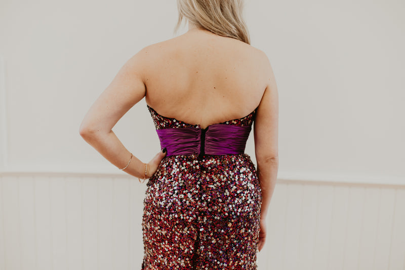 Purple Strapless Long Sequined Dress With Slit