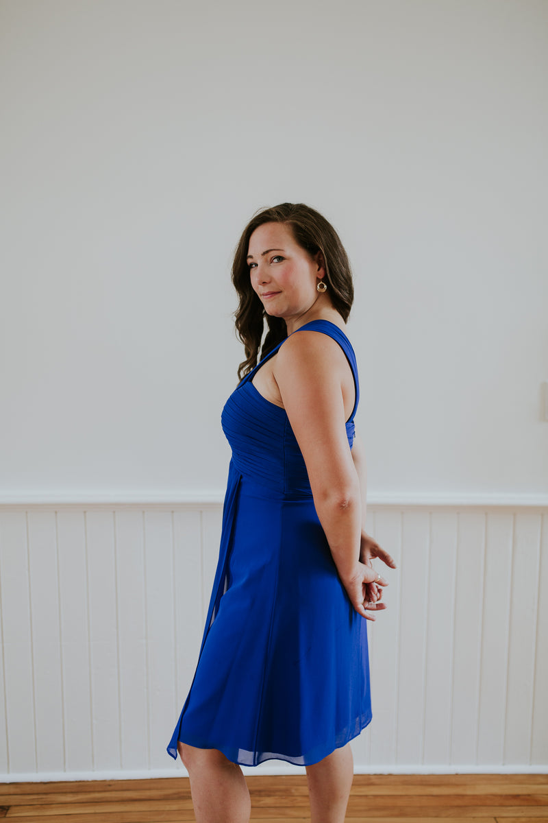 Blue Chiffon Cocktail Dress
