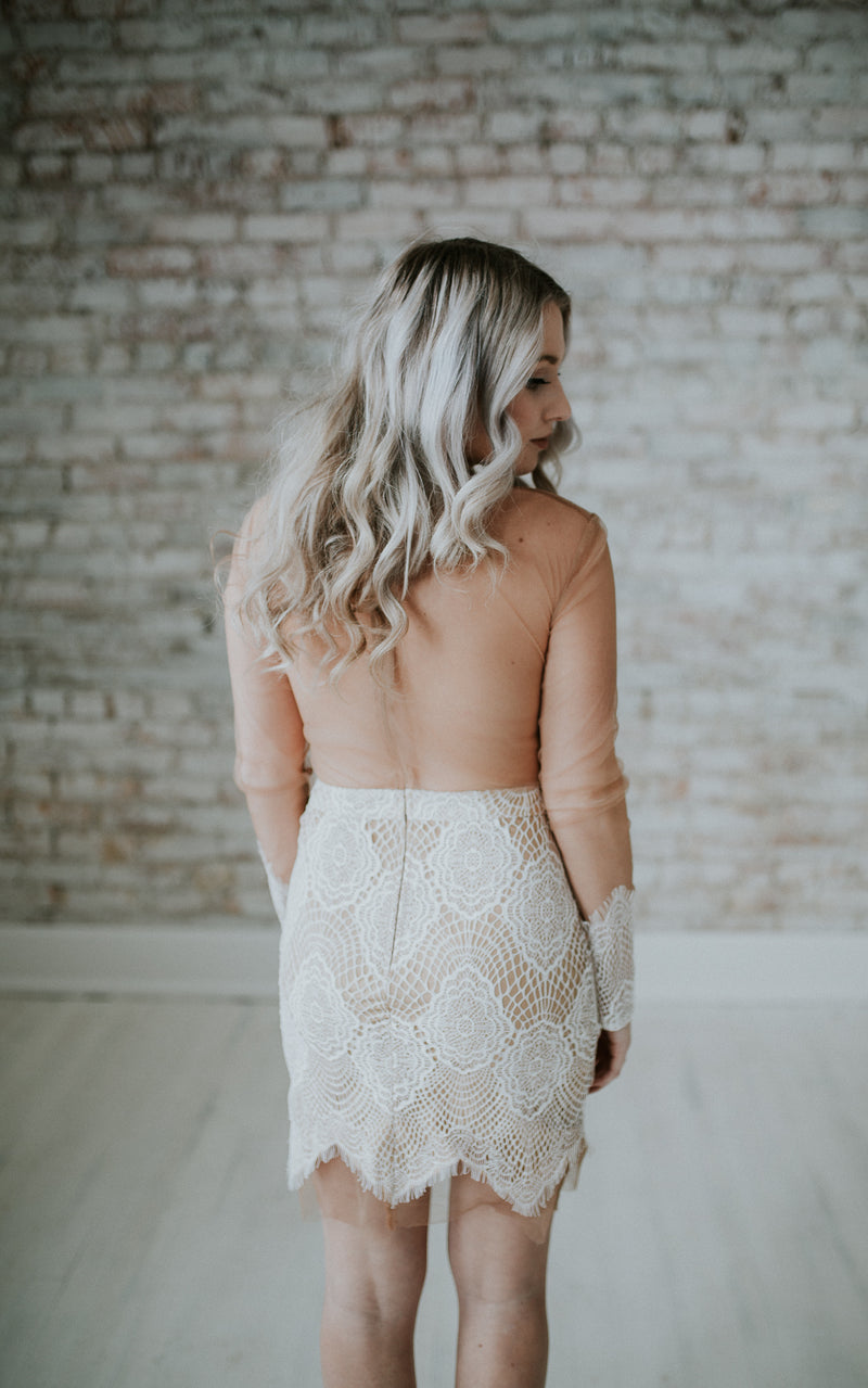 White Lace On Nude Short Dress