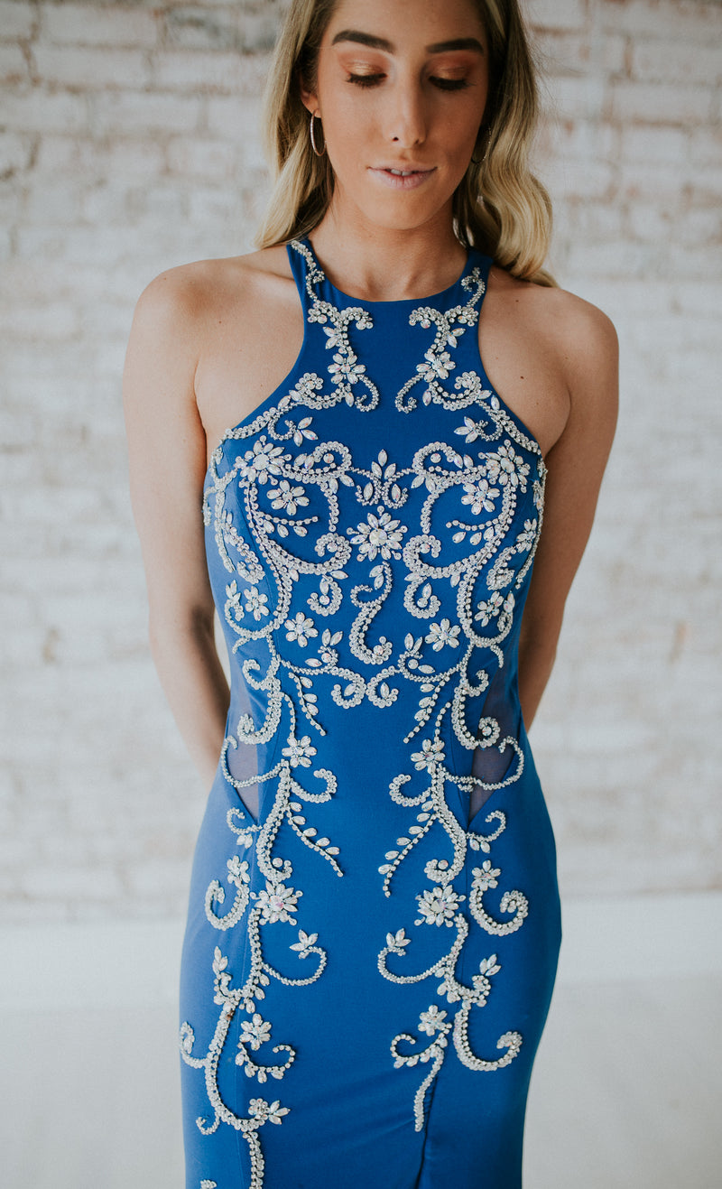 Royal Blue Long Dress With Beading