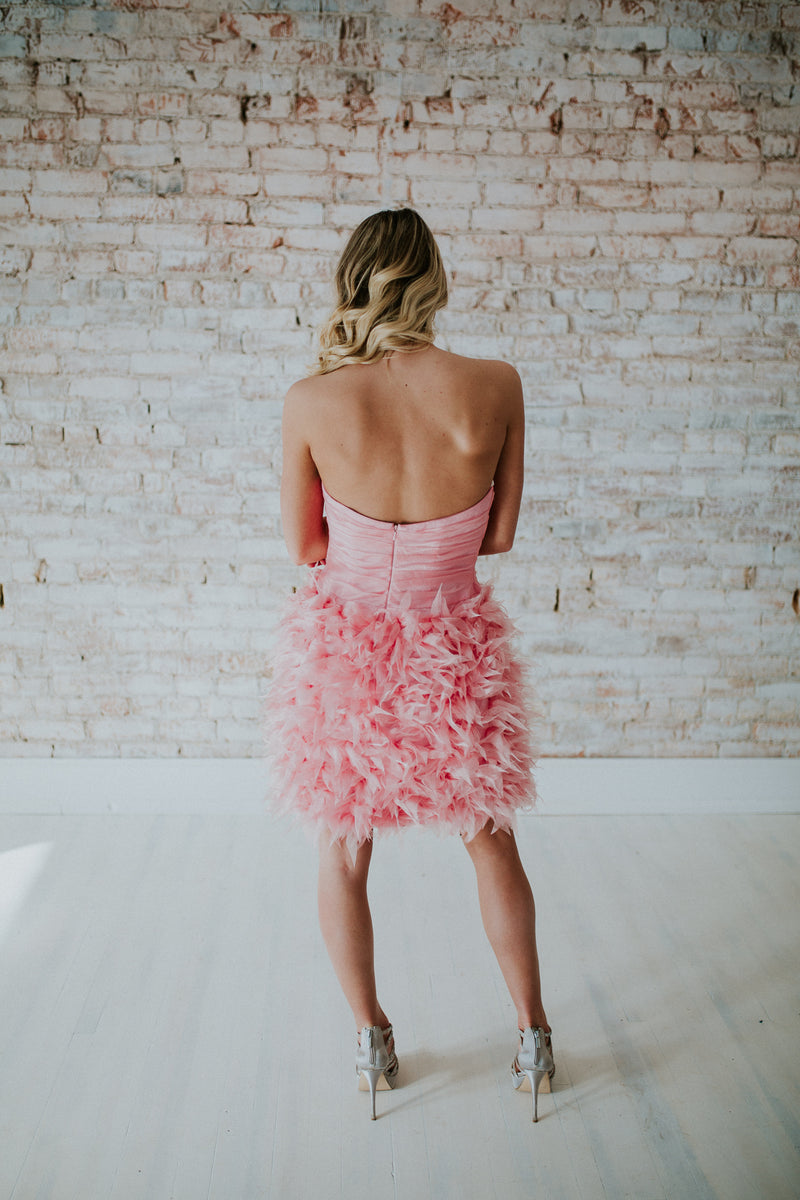 Pink Strapless Short Dress