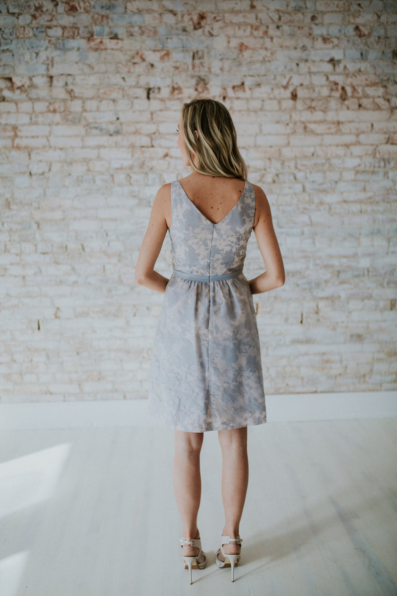 Grey Floral Short Dress
