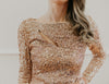 Gold Sequined Long Sleeved Short Dress