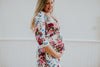 White Maternity Dress with Flowers