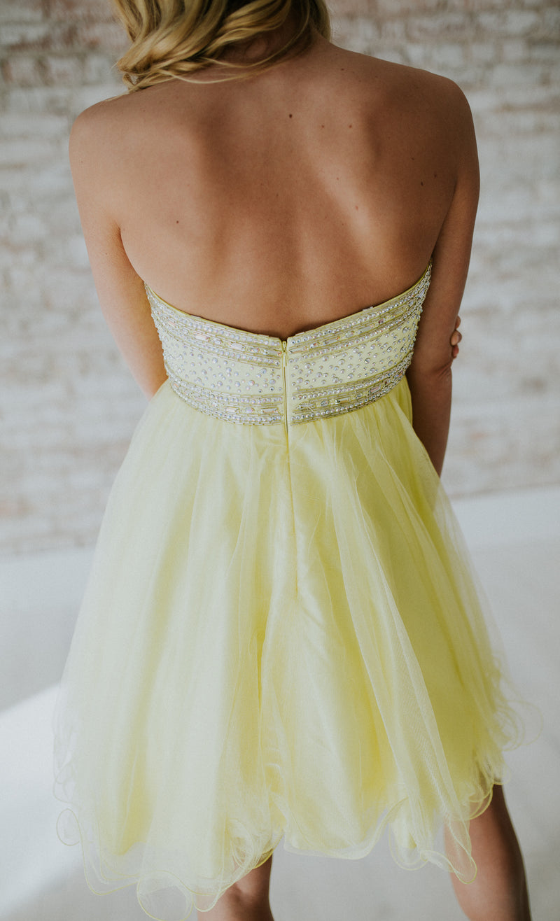 Strapless Cocktail Yellow Dress