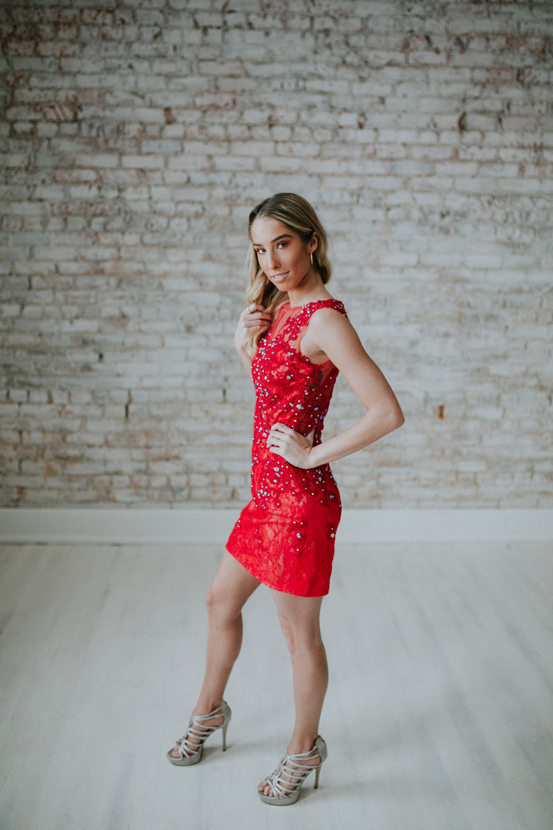 Red Short Dress With Straps