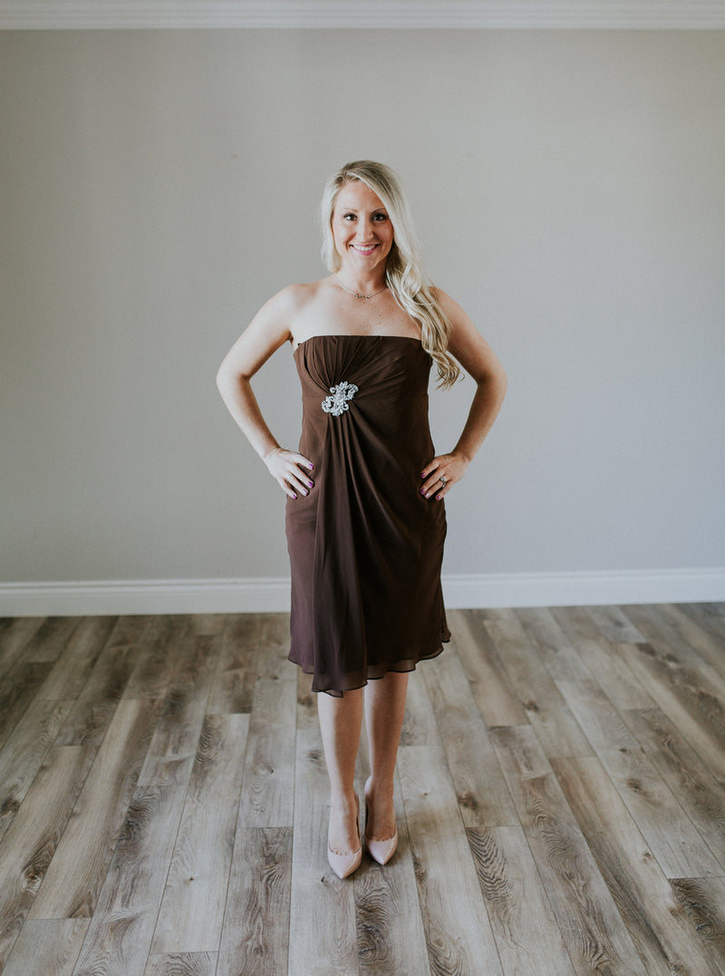 Brown Cocktail Dress With Sequins