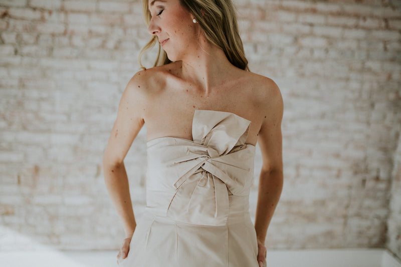Nude Strapless Dress With Bow