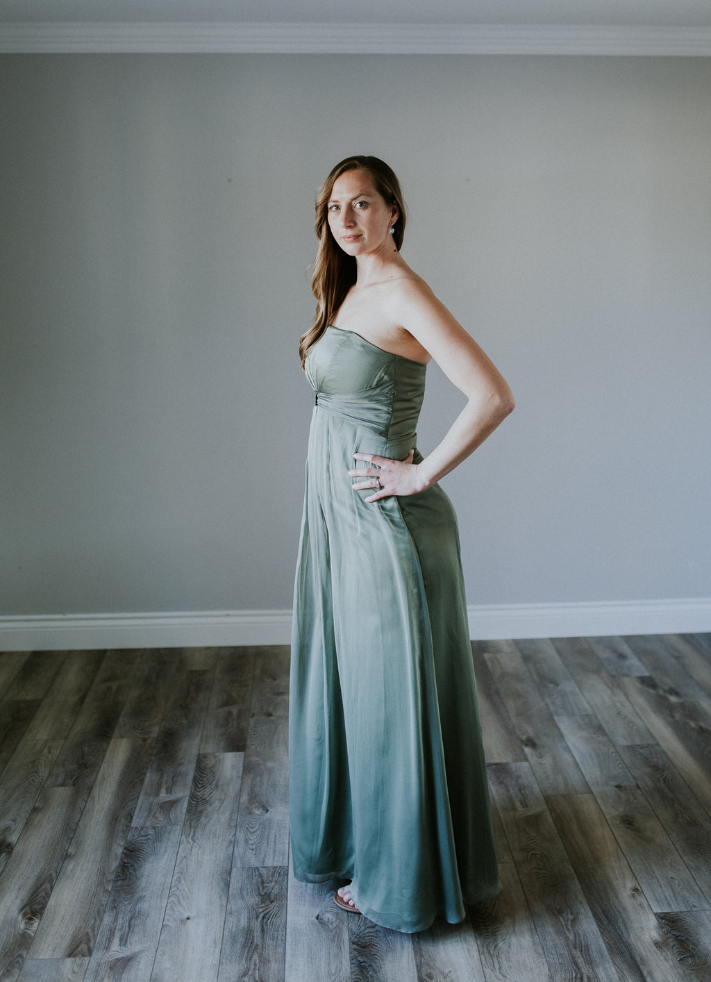 Long Green Strapless Dress