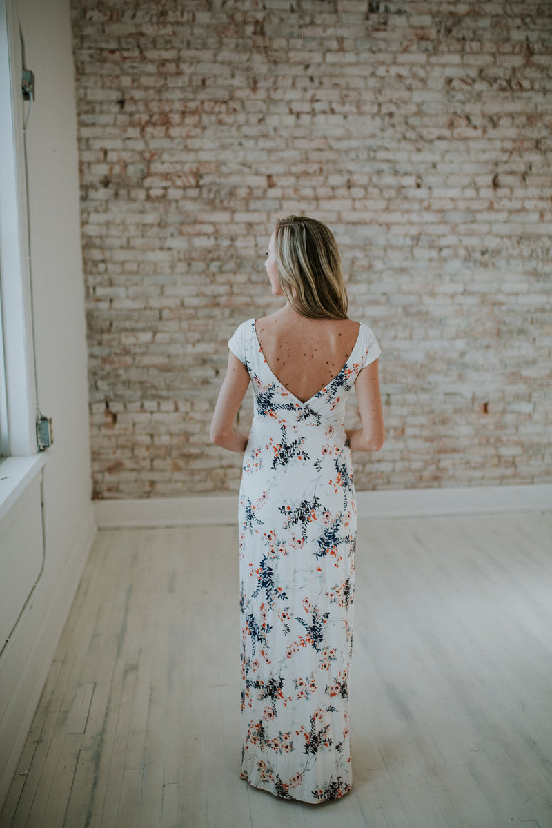 White Floral Maternity Dress