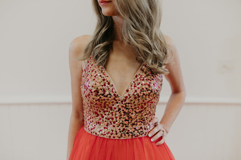 Orange and Sequin Long Gown