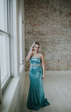 Strapless Blue and Silver Dress
