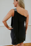 Black Dress With Shoulder Sequins