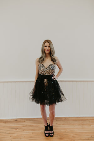 Gold and Black Sequined Short Gown