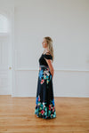 Navy Blue Maxi Dress with Floral Bottom