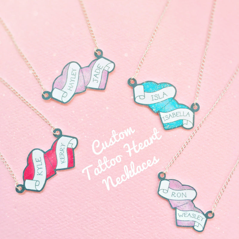 Custom Double Heart Necklace - House Of Wonderland