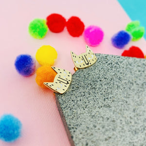 Gold Kitty Earrings - House Of Wonderland, HOW