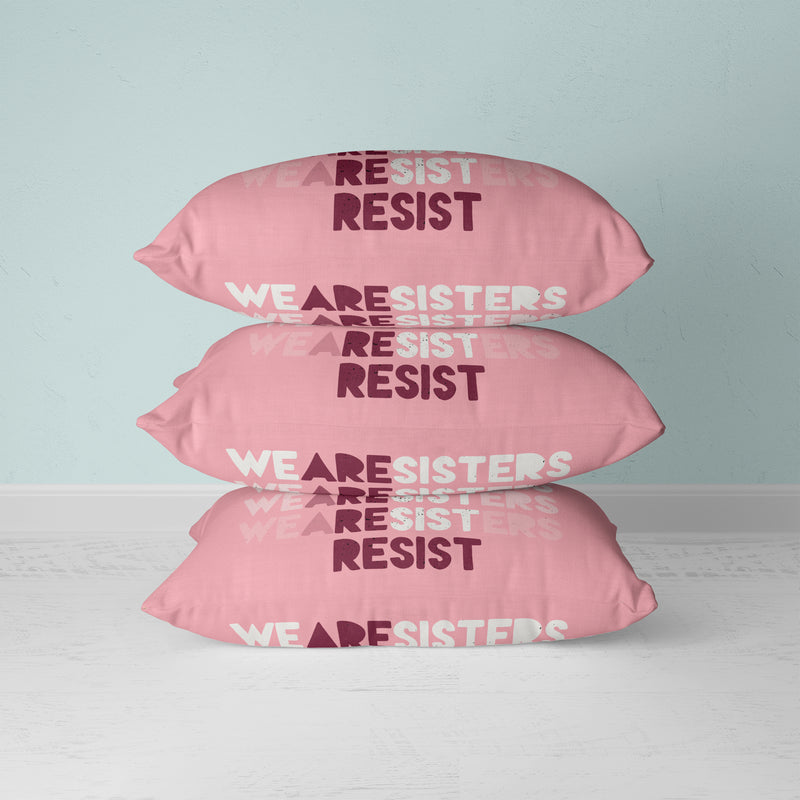 Sisters Resist Faux Suede Cushion - House Of Wonderland, HOW